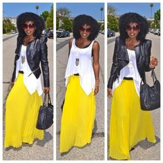 . Source: Style Pantry Blog #stylepantry #blogger #style #fashion#curlyhair #yellowskirt #leatherjacket #fall-fashion