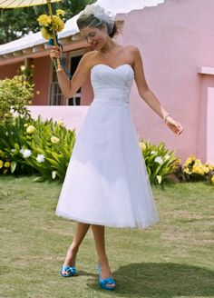 Tea-Length Strapless Tulle Gown with Floral Sash