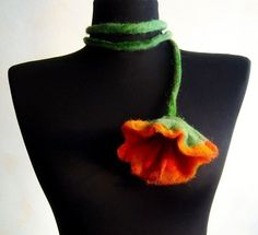 SALE+felt+flower+fiber+orange+summer+necklace+lariat+by+evalinen,+$10.00