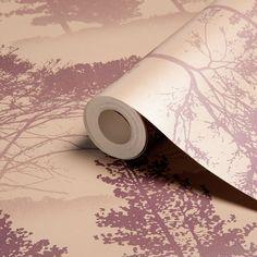 Graham & Brown Blue Label Mirage Damson & Gold Trees Metallic Wallpaper   Departments   DIY at B&Q