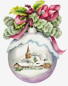 Merry Christmas Wishes : Vintage Christmas card? Beautiful picture and the texture is wonderful. Would love to frame this. Christmas Scenes, Noel Christmas, Pink Christmas, Vintage Christmas Cards, Christmas Pictures, Winter Christmas, Christmas Ornaments, Christmas Ideas, Christmas Quotes
