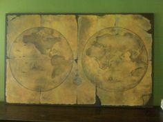 "Pintura ""Mapa Viejo mundo"" Acílico sobre madera 1.20 x .60 Beatriz Arizmendi"