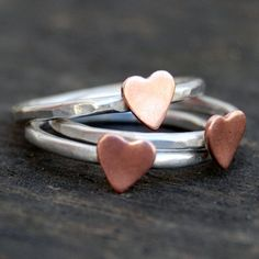 Sterling Silver Stacking Rings   Rustic Romance  by lovestrucksoul, $60.00