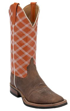 Anderson Bean® Horse Power™ Men's Toast Bison with Burnt Orange Double Welt Square Toe Cowboy Boot