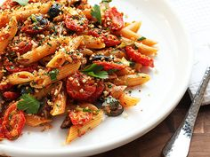 A flavor-packed pasta dish made with oven-dried tomatoes, garlic, olives, and crispy seasoned breadcrumbs.