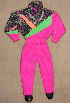 Vintage 80's Snuggler neon day glow crazy new wave ski snow suit ladies size 6 on Etsy, $125.00