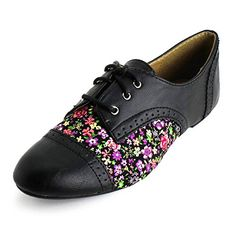 Womens Lace Up Floral Flat Oxford Shoes (Adults) * Continue @ http://www.amazon.com/gp/product/B00IDRKUR0/?tag=passion4fashion003e-20&mn=110816114640