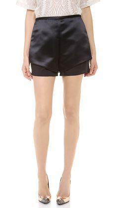 Satin shorts.