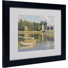 Trademark Fine Art The Bridge at Argenteuil Matted Framed Canvas Art by Claude Monet, Size: 11 x 14, Multicolor