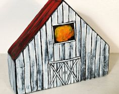 Painted Wood Barn Miniature House Folk Art Country Chic