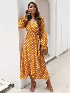 To find out about the Polka Dot Flounce Sleeve Wrap Dress at SHEIN, part of our latest Dresses ready to shop online today! Buy Dress, Wrap Dress, Polka Dot Maxi Dresses, Dresses Online Australia, Belted Shirt Dress, Metallic Dress, Blouse Styles, Flare Dress, Casual Dresses