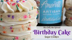 Birthday cake sugar cookies stacked These Birthday Cake Sugar Cookies have very quickly become a family favorite in my home! We ate a full batch of them without even bothering to put icing on. Cream Cheese Sugar Cookies, Sugar Cookies Recipe, Homemade Cookies, Cookie Flavors, Cookie Recipes, Cookie Ideas, Cookie Designs, Candy Recipes, Royal Icing Cookies