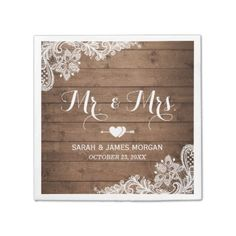 #wood - #Rustic Barn Wood Lace Mr. and Mrs. Wedding Napkin