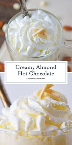 Almond Hot Chocolate – White Hot Chocolate Recipes Almond Hot Chocolate is one of the most delicious white hot chocolate recipes to enjoy on a chilly night. Perfect for serving guests at parties too! Christmas Hot Chocolate, Hot Chocolate Bars, Hot Chocolate Recipes, White Chocolate, Chocolate Chips, Almond Chocolate, Hot Cocoa Recipe, Cocoa Recipes, Dessert Recipes