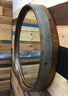 Brand: Top Shelf Barrel Color: Red Oak, Dark Walnut, Honey, Natural, Golden Oak, Details: The Reclaimed Wine Barrel Top Mirror is hand crafted from a reclaimed wine barrel and top quality hand cut gla