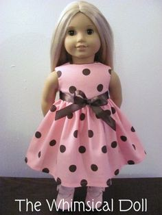 Pink chocolate dot dress for American Girl Dolls