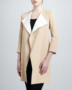 Leather-Trim Crepe Coat by J. Mendel at Neiman Marcus.