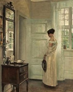 Woman in an Interior with a Mirror - Carl Holsøe