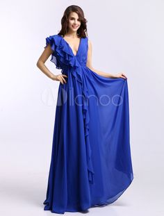 Royal Blue Deep V-Neck Pleated A-line Chiffon Elegant Prom Dress - Get unbeatable discounts up to 70% Off at Milanoo using Coupon & Promo Codes