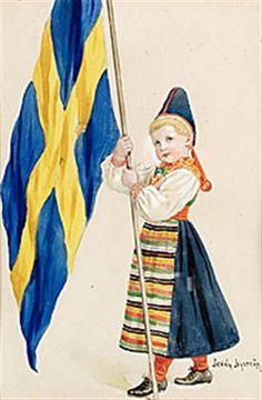 Jenny Nyström Svenska flaggan 1906 Fika, Stockholm, Flags, Illustrator, Snow White, Disney Characters, Fictional Characters, Aurora Sleeping Beauty, Disney Princess