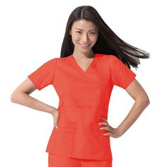 Gen Flex by Dickies Womens Junior Mock Wrap Solid Scrub Top in Orange Sunset.