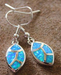 blue fire opal earrings Gemstone silver jewelry elegant design A1W #DropDangle