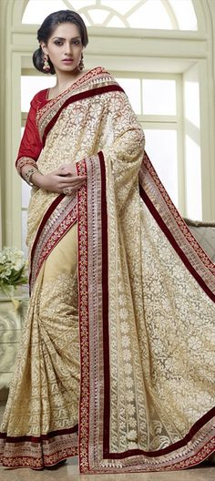 142428, Party Wear Sarees, Embroidered Sarees, Silk, Net, Stone, Thread, Lace, Machine Embroidery, Beige and Brown Color Family