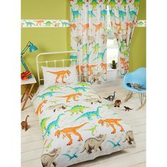 Exclusive PriceRightHome design Fun Dinosaur themed bedding set The design features a T-Rex, Stegosaurus, Pterodactyl, Triceratops, Velociraptor and Brontosaurus