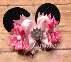 Fiber Optic Minnie Mouse Inspired Hair Bow  by CindabellasBoutique