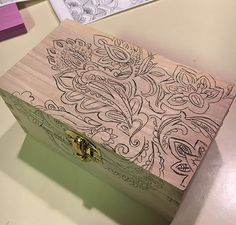 Learn how to use a coloring book design to add color and unique appeal to a plain, wooden recipe box. Before/After - look what a little color can add to ordin… Woodworking Jigsaw, Woodworking Tools For Sale, Rockler Woodworking, Woodworking Projects, Wood Projects, Woodworking Classes, Dremel, Wooden Box Designs, Painted Wooden Boxes