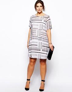 ASOS CURVE Exclusive Swing Dress In Blocked Stripe Print