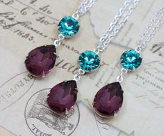 Peacock Wedding Jewelry Necklace by inspiredbyelizabeth on Etsy, $24.00 for the bridemaids maybe