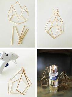 diy metallic geometric candle holders make from skewers via Geometric Decor, Geometric Shapes, Geometric Candle Holder, Origami Candle Holder, Diy Candle Holders Wedding, Metal Candle Holders, Bridal Decorations, Diy Decoration, Diy Candles