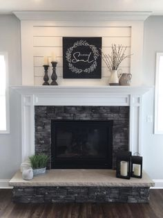This collection of fireplace mantels is full of warm cozy decor inspiration and ideas for even the chilliest days. This collection of fireplace mantels is full of warm cozy decor inspiration and ideas for even the chilliest days. Fireplace Redo, Living Room With Fireplace, Fireplace Design, Fireplace Ideas, Shiplap Fireplace, White Fireplace Mantels, Over Fireplace Decor, Fireplace With Stone, Fireplace In Kitchen