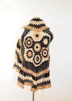 Crochet Cardigan  - Sweater - Bohemian - Jacket - Shrug Bolero - Granny square  cardigan shrug - Black beige grey- Women sweater on Etsy, 89,05€