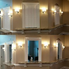 Custom interior shutters for a ticket booth Traditional Shutters, Interior Shutters, Track Lighting, Ticket, Ceiling Lights, Home Decor, Decoration Home, Indoor Shutters, Room Decor