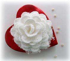 Crochet Corsage Brooch Snow White Winter Rose by CraftsbySigita