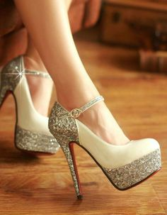 Cream and sparkly high heels