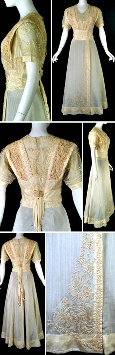 Evening gown, J. Franken, Brooklyn, ca. 1912. Ivory wool & silk blend. V-neck trimmed in white seed beads & pearls. Lace yoke w/beading & pearls across chest. Wide shoulder straps in soutache, rope soutache, lace. Lace appliqués across midriff. Short, set-in sleeves of lace w/silk bands at ends. Lined in ivory chiffon. Wide cummerbund w/button rosettes & tassel end sashes. Slender, gored skirt with tuck on left and soutache. Polished cotton bodice lining with boning. Vintage Martini