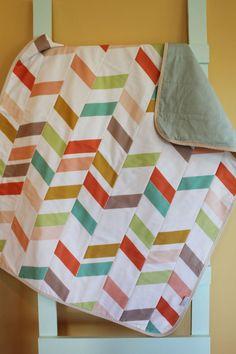 baby quilt herringbone chevron multi GEOMETRIC zig zagPETUNIAS blanket crib…