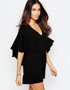 Image 1 ofASOS Jersey Playsuit with Cape Sleeve
