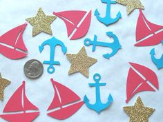 Nautical Confetti - Sailboat Confetti - Anchor Confetti -  Glitter Stars Confetti - First Birthday Decorations - Sea Confetti