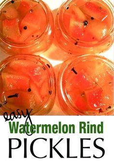 Easy Watermelon Rind Pickles Recipe - This recipe for watermelon pickles is a great starter recipe for pickling. Watermelon Rind Pickles are tasty and pretty easy to do for pickles. They are great for summer picnics and make a cool summer hostess gift! Watermelon Rind Preserves, Pickled Watermelon Rind, Watermelon Pickles, Watermelon Jelly, Dried Watermelon, Jelly Recipes, Jam Recipes, Canning Recipes, Fruit Recipes