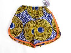 High Waist African Print Pants Shorts - Bold Bright African Wax Print - New!