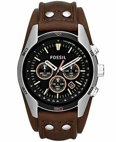 7e050f7d694 Fossil Men s Sport Chronograph Brown Leather Double Pad Strap Watch 44mm  CH2891 Jewelry   Watches - Watches - Macy s