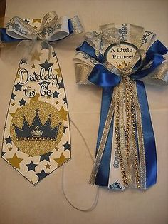 Blue and Silver Prince  Mommy To Baby shower corsage and Daddy To Be Tie