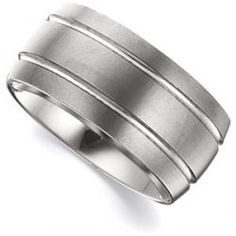 10mm Satin Grooved Tungsten Carbide Comfort Fit Band