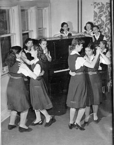 Dionne quints at dancing lessons with classmates. As teenagers, the Quints were not allowed to fraternize with young men who were not family members or close family friends
