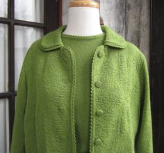 60s Jackie O Mad Men Style Olive Knit 3 Piece Suit on Etsy, $69.00