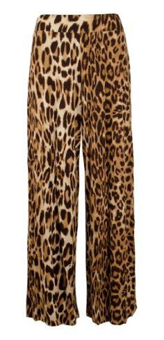 womens black leopard print palazzo pants wide leg trousers sizes 12-20 holiday